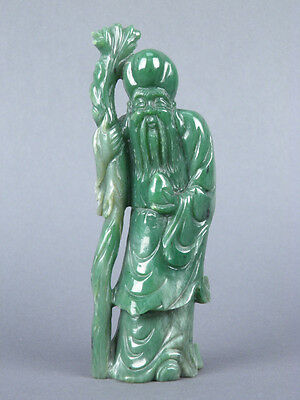 Fine Old Chinese Carved Jade Shou Lao Carving Sculpture Scholar Art