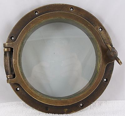 "Antique bronze  porthole, salvaged  porthole nautical  10"" porthole 7"" glass"