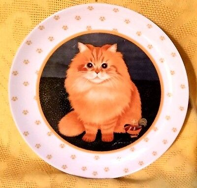 "Lowell Herrero Orange Tabby Fluffy Cat W/ Wind Up Chicken 7 3/4"" Plate Vandor`89"
