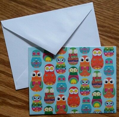 Tender Thoughts Set of 8 Blank Notecards & Envelopes ~ Colorful Owls
