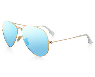 Ray-Ban Aviator Flash RB3025-112/17-62 Sunglasses - Gold/Blue