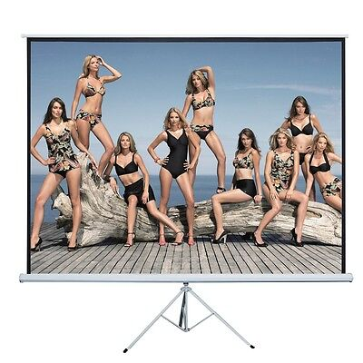 "120"" 4:3 Projection Projector Screen Home HD Movie Manual Pull Up Stand Tripod"