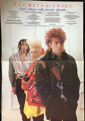THE THOMPSON TWINS - CENTRE PAGE POSTER FROM No1 MAGAZINE 1980's