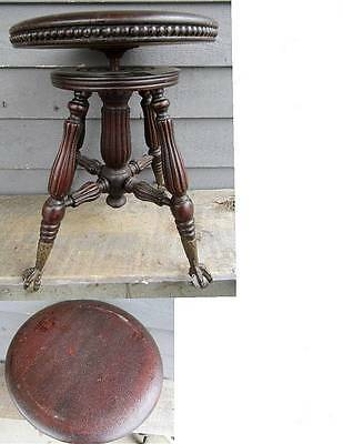 Antique H D Bentley Ball & Claw Feet Piano Stool