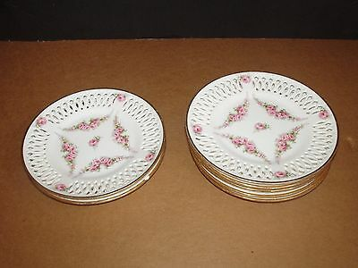 "SIX Antique Germany Marked Hand Painted Roses 6 1/2"" Reticulated Pierced Plates"