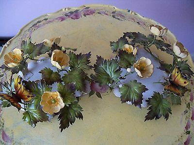 Pair Vintage Italian Tole Metal Butterfly & Yellow Flower Candle Holders W/tag