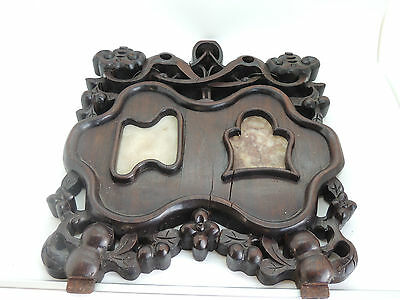 Antique 19C Chinese Rosewood Hand Carved  Plaque With Marble
