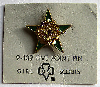 Vintage 1950s Girl Scout 5 FIVE POINT STAR SENIOR PIN Official Program Award NEW