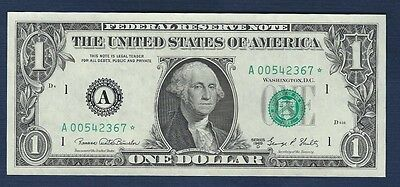 "1969-D $1 *Star Note* Federal Reserve Note ""Crisp Gem New"""