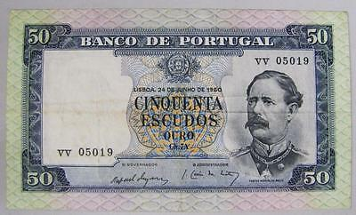 1960 Portugal 50 Escudos Currency Note, VF.