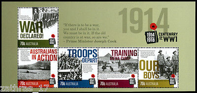 2014 Centenary of WWI  1914 - Minisheet of 5 Stamps - MUH