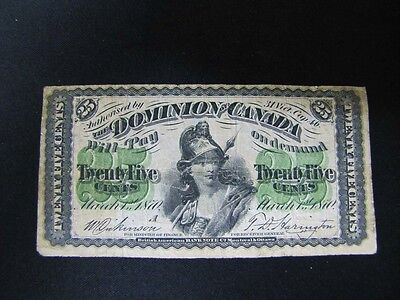 1870, Dominion of Canada 25 Cents Currency Note, Shin Plaster, VG