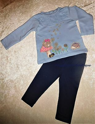 Monsoon Baby Girls Olivia Squirrel Hedgehog Blue Top & Leggings Set Age 0-2 Year