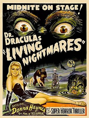 Dr. Dracula's Living Nightmares 1950s Vintage Old Sci-Fi Movie Poster - 20x28
