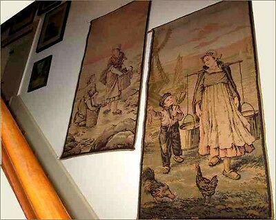 Antique French Jacquard Cotton Tapestry; Holland Dutch Scene; 27 W x 52 L