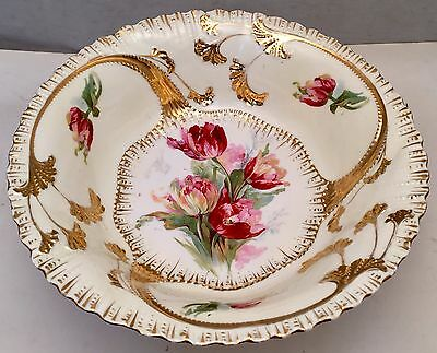 """Oscar Schlegelmilch OS RS Prussia Hand Painted 10"""" Molded Bowl Germany Signed"""