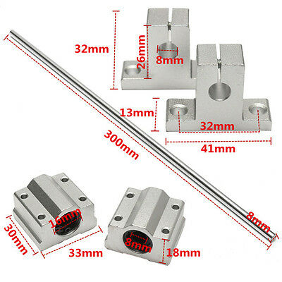8x300mm Linear Rail Shaft with 2pcs Shaft Supports and 2pcs Linear Slide Block