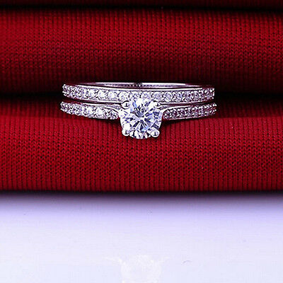 Women Engagement Wedding 2Pcs Set Cubic Zirconia Silver Plated Rings Healthy