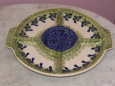 Genuine Hand Made Polish Pottery Appetizer/Relish Tray! Bunny Pattern!