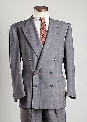 Vintage Dated 1951 Double Breasted Suit Large 1950s Windowpane Red and Blue
