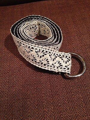 Talbots Women's Crocheted Fabric Belt Size M NWT Cream Metal Rings