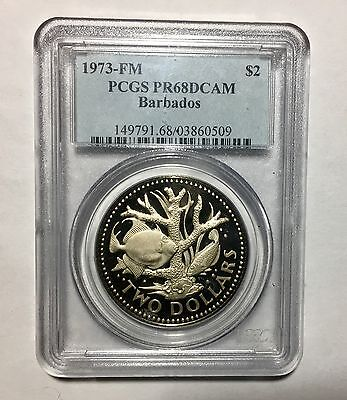 1973 BARBADOS TWO DOLLARS COIN PCGS PR68DCAM Coral Garden