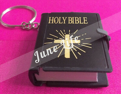 Mini Bible Keychain English HOLY BIBLE Religious Christian Jesus Black Keyring
