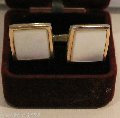 Mother of Pearl Cuff Links Gold Tone Men's Shirt Jewellery Hickok USA Vintage x