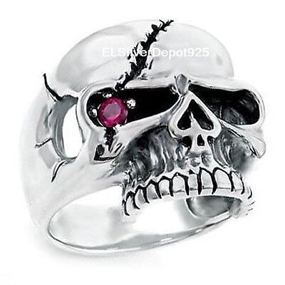 925 STERLING SILVER 5A+ Red CZ Ring Men Pirate One Eye Skull Biker Gothic Punk