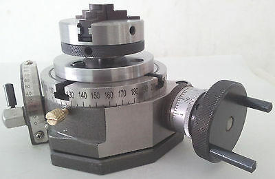 "Rotary Table Tilting 4"" / 100mm with 65mm Lathe Chuck for Milling Machine"