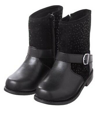 NWT Gymboree Girls Size 7 Toddler Black Dot Moto Boots Shoes NEW Ankle