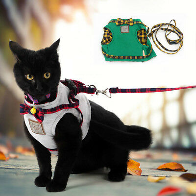 Small Cat Walking Harness Jacket Leash Safety Pet Kitty Clothes Dog Harness Lead