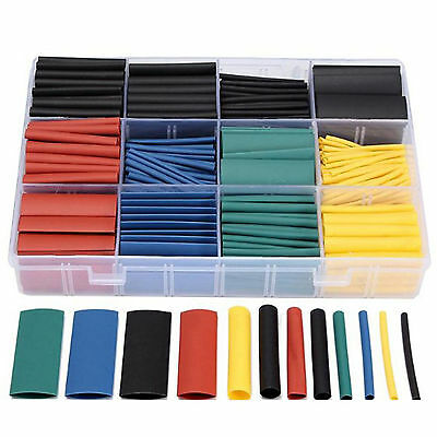 Box+530Pcs Electrical Cable Heat Shrink Tube Tubing/Wrap Multicolor Mix 8 Sizes