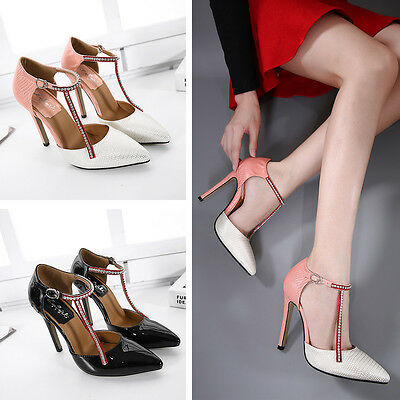 New Fashion Women Pointed Toe Strap High Heel Ladies Stiletto Buckle Pumps Shoes