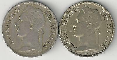 xx From Accumulation - 2 OLDER 1 FRANC COINS..BELGIAN CONGO..BOTH 1925..2 TYPES