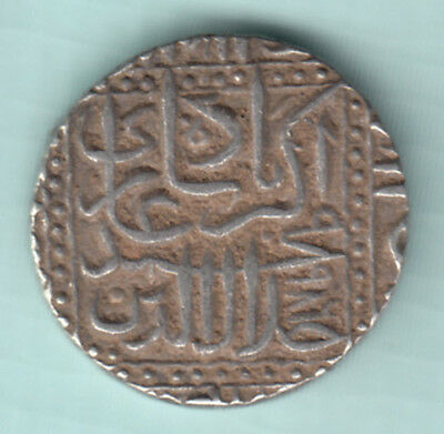 Akbar Mughal King India 986 Extremely RARE Silver Broad Flan One Rupee Coin 475