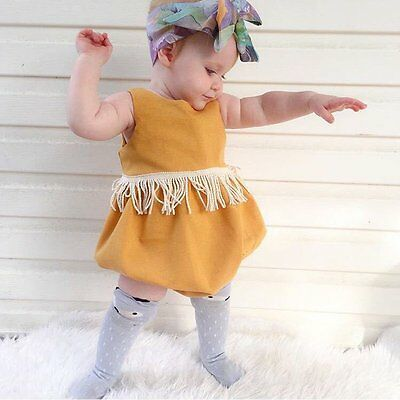 Newborn Infant Baby Girl Tassel Bodysuit Romper Jumpsuit Sunsuit Outfits Clothes
