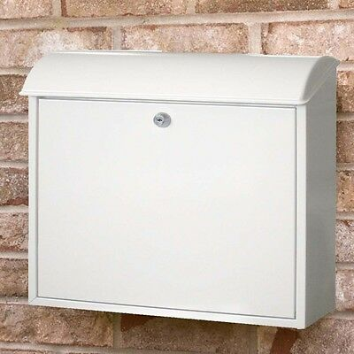Modern Venice Letter Box Post Mail Galvanized Steel Wall Mounted Lockable White