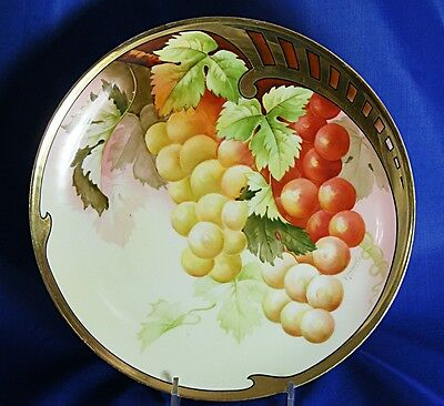 "Antique Hand Painted Cabinet Plate Gold Edge Artist Signed Grapes 8 1/2"" Bavaria"