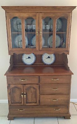 Antique Vintage Early American Style Solid Wood Hutch Cupboard China Cabinet