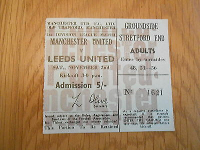 MANCHESTER UNITED V LEEDS UNITED  2/11/1968  match ticket
