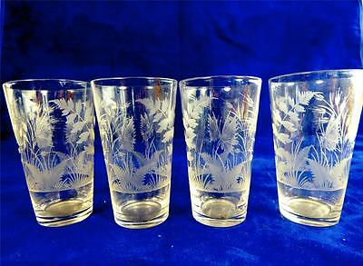Set Of Four Antique Small Tumbler Glasses Hand Engraved Butterflies Foliage