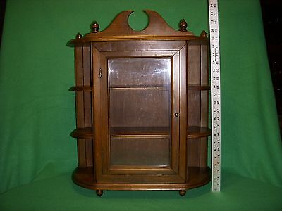 Antique/Vintage Wood  3 Tier Large Curio Wall Display Cabinet