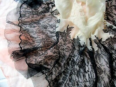 Antique French Flapper Silk Chantilly Lace Tulle Flounce Sheer Chiffon Trim Last