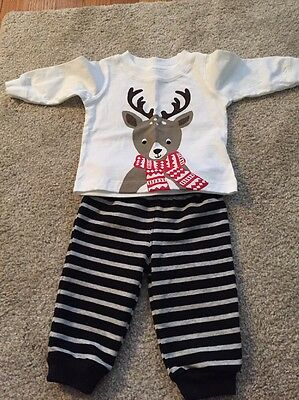 Carters Reindeer Shirt Stripe Pants 2 Piece Outfit 3 Months New Without Tags