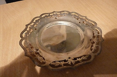 Unusual Vintage  Silver Plate? Ashtray - Dish - Unmarked - Interesting Pattern