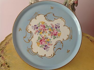 Vintage French Porcelain Hand Painted Floral Light Blue Cake Stand Plate 11""