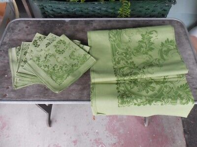"""Vintage Green Damask Tablecloth - 60"""" by 79 1/2"""" -  and 8 Napkins Set"""