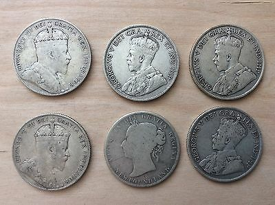 NEWFOUNDLAND CANADA SILVER 50 CENT (SILVER) Lot of 6