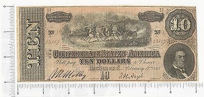 1864 $10 Dollar Bill Confederate States Currency Civil War Note Paper Money